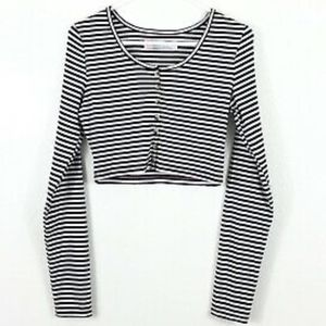FREE PEOPLE Striped Crop Top Henley Size SMALL